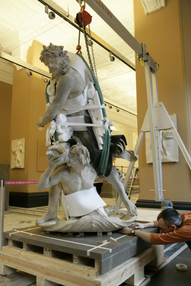 Phil James, technician installing Neptune and Triton in the Dorothy and Michael Hintze Gallery in 2006 © Victoria and Albert Museum, London