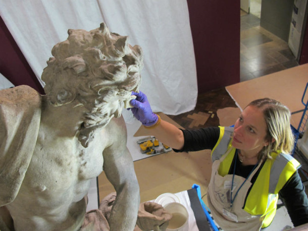 Removing dirt from the marble surface © Victoria and Albert Museum, London