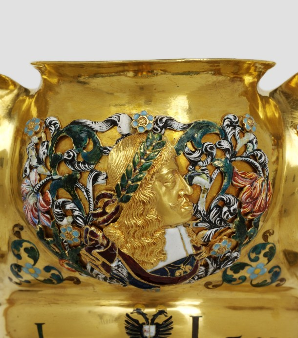 Profile of Emperor Leopold I on the bowl of the cup shown below