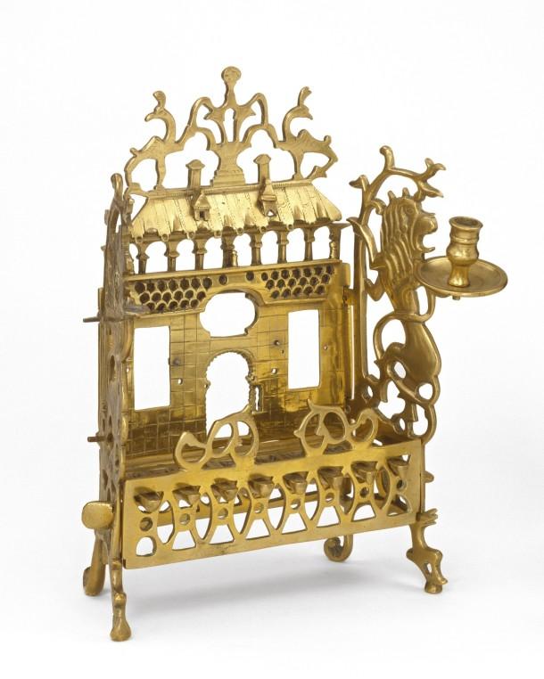 Hanukkah Lamp; brass. Height 35 cm, Width 30.5 cm. The Victoria and Albert Museum, Dr W.L. Hildburgh Bequest Museum no. M.413-1956