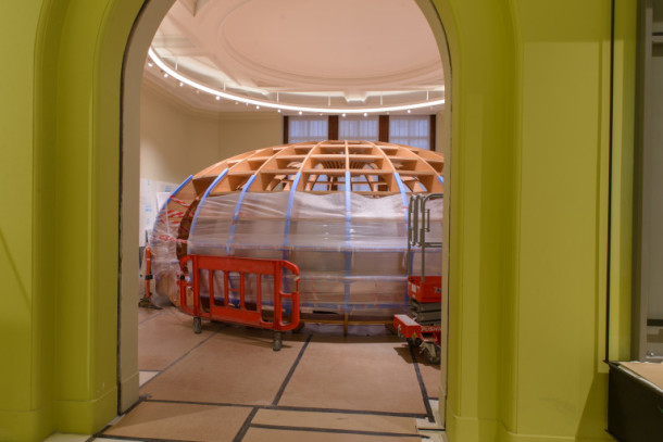 Record of the fitting out of the new Europe 1600 - 1800 Gallery, including lighting & installation of display cases;  V&A Museum;  7th July 2015.