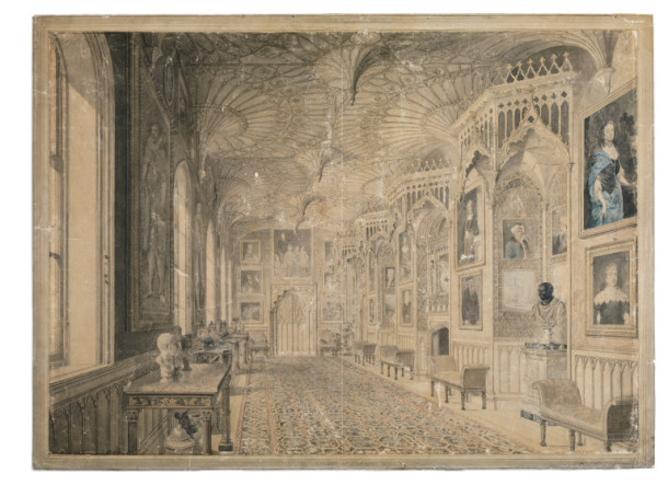 "'The Gallery at Strawberry Hill', the ""queer gothic"" home of Horace Walpole. Watercolour by T Sandby, and probably P Sandby and E Edwards, England, 1781. V&A D.1837-1904"