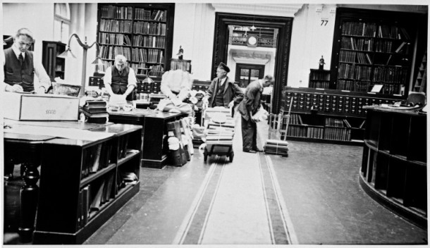 Room 77 during the pre-World War Two preparation of objects for evacuation or protection