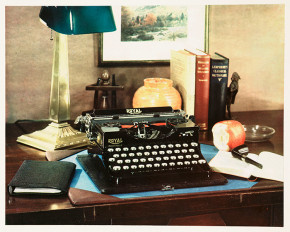 Advertisement with typewriter on desk, c 1927. Image No. 10453156. Inventory No.: 2003-5001_2_21303. Source No.: 2003-5001. © NMPFT/Royal Photographic Society / Science & Society Picture Library