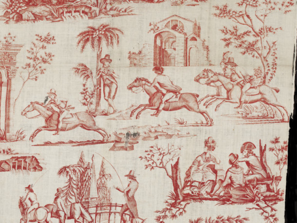 The fashion for horse racing was popularised by the Duc d'Orléans and the Comte d'Artois who imported horses and jockeys from England. Detail of a copper-plate printed cotton featuring a friendly race between riders. Toile de Nantes, France, ca.1790 V&A T.448-1919