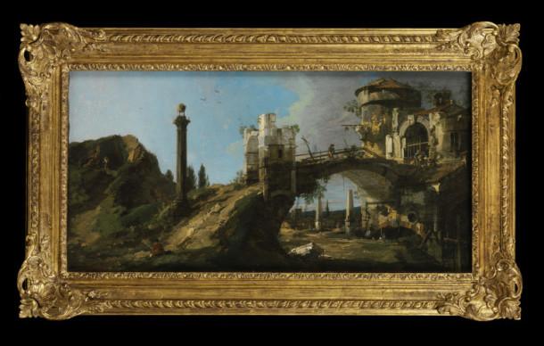 'Capriccio: Ruined Bridge with Figures', oil on canvas, Canaletto, 1745-46. V&A 1352-1869