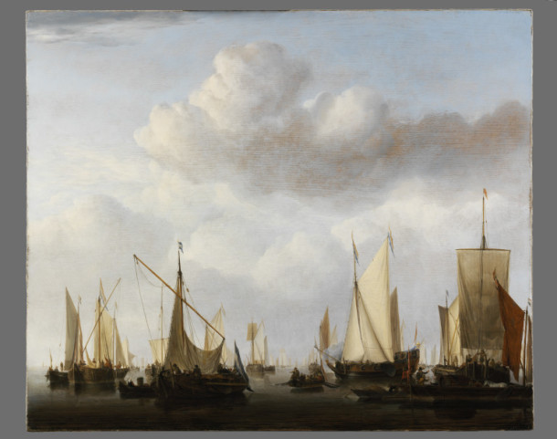 'Shipping in a Calm', oil on oak panel, Willem van de Velde the younger, ca. 1658. V&A 482-1882