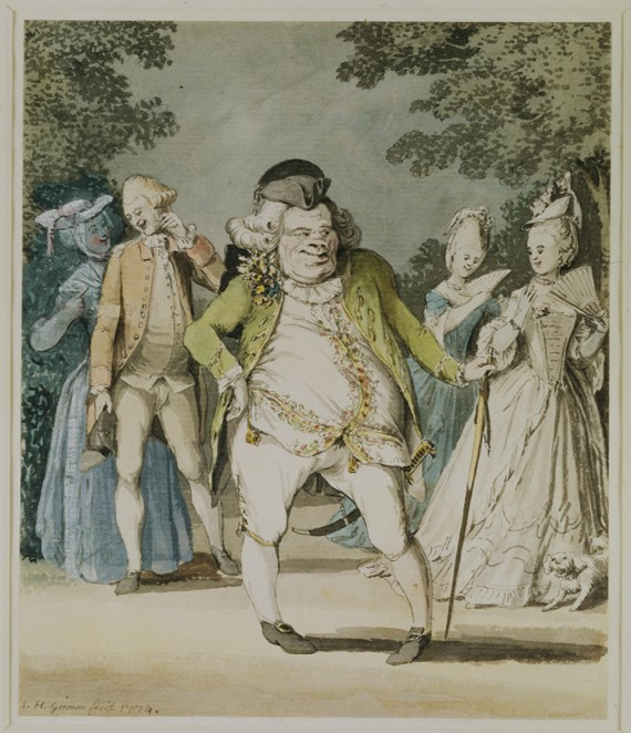 'The Macaroni', watercolour drawing by Samuel Hieronymus Grimm, Great Britain, 1774. V&A P.39-1939