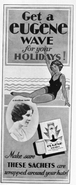 Summer advertisement for Eugène sachets.