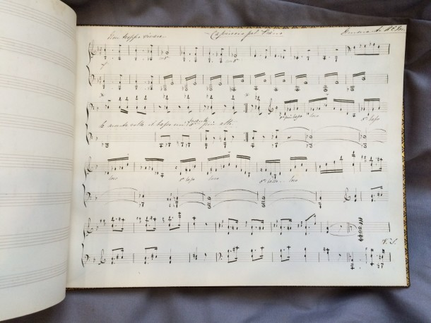 Ruled music stave book with musical examples. Florence, ca 1850s. Museum no. MSL/1981/13.