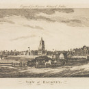 View of Hackney, engraving by an unknown artist for Walter Harrison's 'History of London', 1775. Museum no. E.4552-1923. ©Victoria and Albert Museum