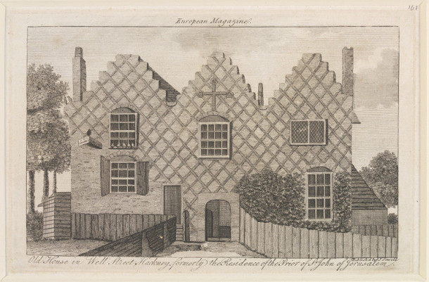 Old House in Well Street, Hackney, engraving published by John Sewell, 1790. Museum no. E.4697-1923. ©Victoria and Albert Museum