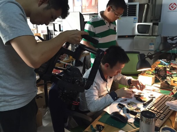 Filming at RONE company for a video on shanzhai and innovation