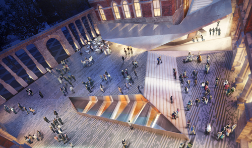 Visualisation of the courtyard at night