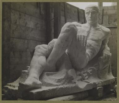 6293-1938 Photograph of a stone figure of Mercury by Bohumil Kafka