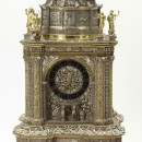Clock, silver and silver-gilt, The Hague, ca. 1665-1670.  Height 91.6 cm Museum no. 92-1870