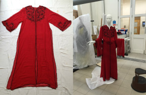 Red outfit designed by Zhor Sebti. The image on the left shows the photo taken of the garment when it first entered the Museum. The image on the right shows the ensemble mounted on a mannequin in our Textile Conservation Studio looking very slim! This is before Lara had started the padding process. Museum no. ME.5:1 to 4- 2015 © Behnaz Atighi Moghaddam