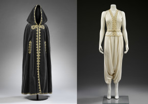 Image on the left: Velvet Cape designed by Naima Bennis c.1970. Museum no. ME. 4-2015 © Victoria and Albert Museum, London Image on the right: Outfit designed by Zina Guessous. Museum no. ME.9:1 to 3-2015 © Victoria and Albert Museum, London