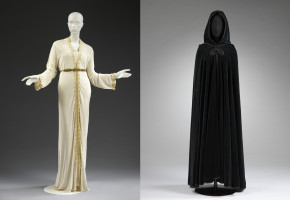 Image on the left: Outfit designed by Zina Guessous. Museum no. ME.8: 1 to 3-2015 © Victoria and Albert Museum, London Image on the right: Velvet Cape designed by Zhor Sebti. Museum no. ME.7-2015 © Victoria and Albert Museum, London