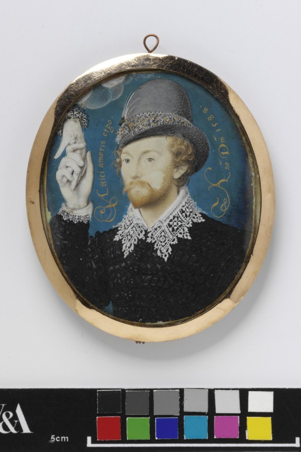 Man Clasping a Hand from Cloud, perhaps Lord Thomas Howard, 1588, Nicholas Hilliard. Watercolour on vellum mounted on to plain brown card, probably a later addition. Transferred from the British Museum. Museum no: P.21-1942 Gallery location: location, 90a, case 3