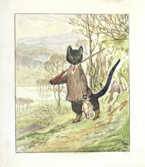 Frontispiece illustration for The Tale of Kitty-in-Boots, 1914 (c) Victoria & Albert Museum with kind permission of Frederick Warne & Co
