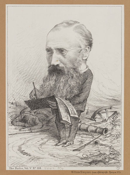 Caricature of William Simpson from The Bailie magazine, Glasgow, 1874. Museum no. D.62A-1900. ©Victoria and Albert Museum