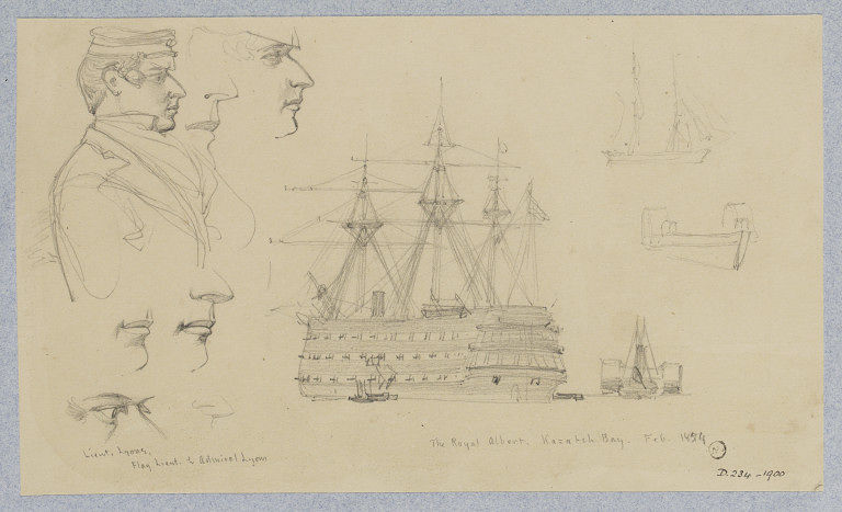 'The Royal Albert, Kazatch Bay' by William Simpson, Crimea, 1854. Museum no. D.234-1900. ©Victoria and Albert Museum