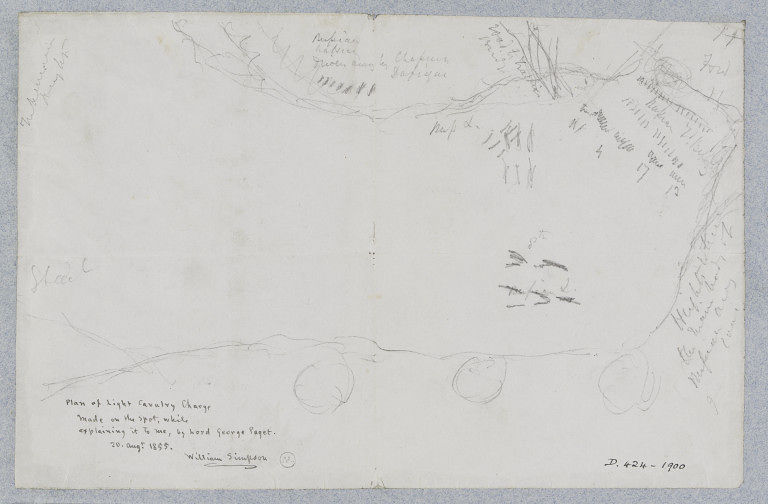 'Plan of light cavalry charge' sketched by Lord George Paget, Crimea, 1855. Museum no. D.424-1900. ©Victoria and Albert Museum