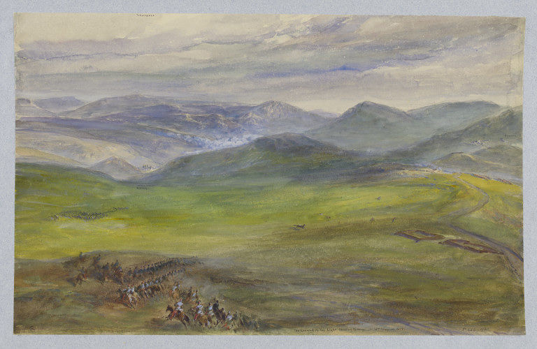 'The ground of the light cavalry charge' by William Simpson, Crimea, c.1855. Museum no. D.426-1900. ©Victoria and Albert Museum
