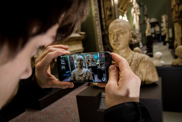 Scanning sculptures using Autodesk's 123D and a Galaxy S7 Edge Photo Credit: Vianney Le Caer/Rex/Shutterstock