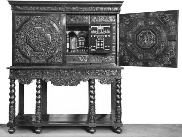 Cabinet on stand (The 'Endymion Cabinet'), Paris, 1630-50. Museum no. 1651:1 to 3-1856. © Victoria and Albert Museum, London