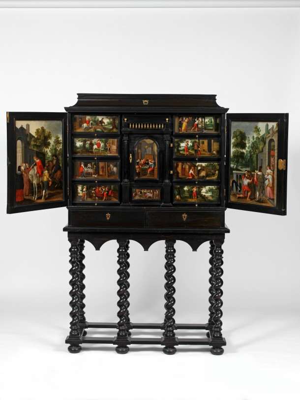 Cabinet with scenes from the Parable of the Prodigal Son, Antwerp, 1640-60. Museum no. W.61:1 to 3-1923. © Victoria and Albert Museum, London