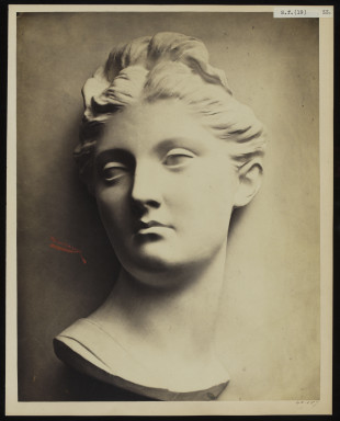 42587 Albumen print of a sculpture photographed by Adolphe Bilordeaux