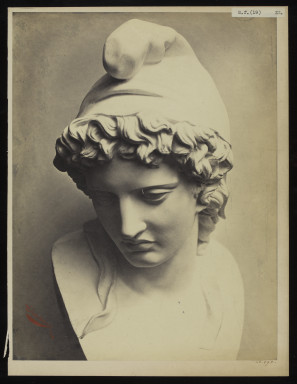 42592 Albumen print of a sculpture photographed by Adolphe Bilordeaux