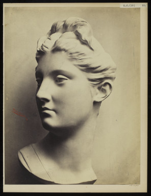 42595 Albumen print of a sculpture photographed by Adolphe Bilordeaux