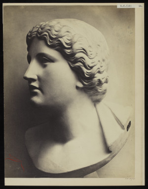 42594 Albumen print of a sculpture photographed by Adolphe Bilordeaux