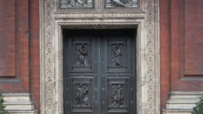 Original front entrance doors to the Victoria & Albert Museum; bronze; now in the Pirelli Garden;  designed by James Gamble & Reuben Townroe (1835 - 1911), based on designs by Godfrey Sykes (1824 - 66), made by G.Franchi & Sons;  English (London); 1868.
