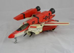 Jetfire, a toy licenced from Bandai, who'd in turn licenced it from Takatoku Toys. His jet form represents a fictional VF-1S 'Super Valkyrie' from the Japanese anime series 'Macross' (known in English as 'Robotech'). Copyright Victoria and Albert Museum, London