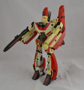 Jetfire as a robot. In the TV series he was known as 'Skyfire' due to legal issues. His toy has a lot of fiddly snap-on bits (the red areas on his body). Copyright Victoria and Albert Museum, London