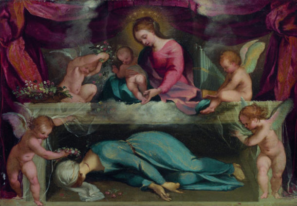 Ventura Salimbeni, Virgin and child with the martyred Saint Cecilia and angels