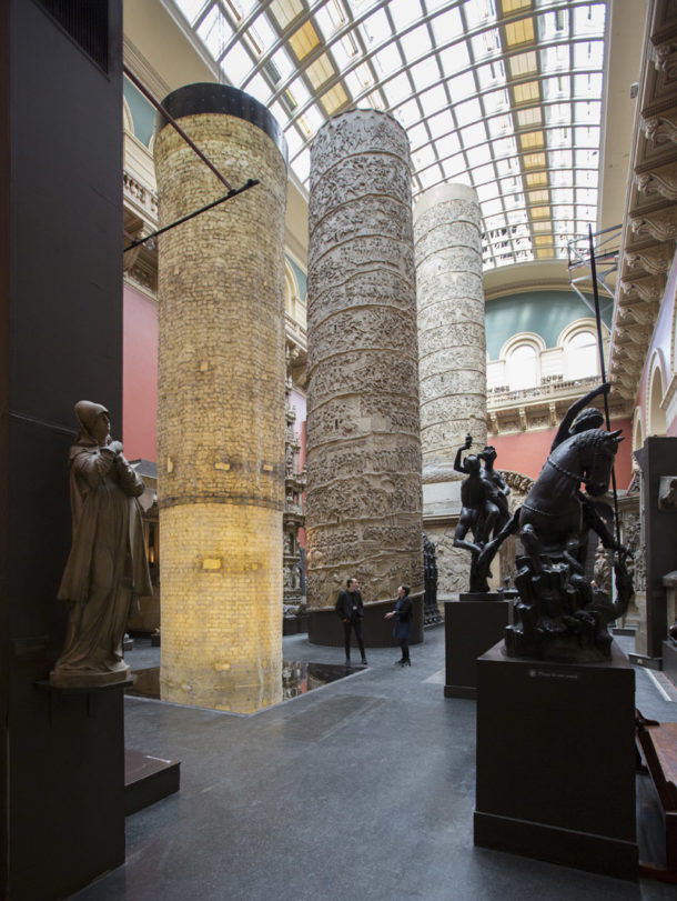 Art installation made of conservation latex that has been used to 'clean' the hollow inside of the cast of Trajan's Column.