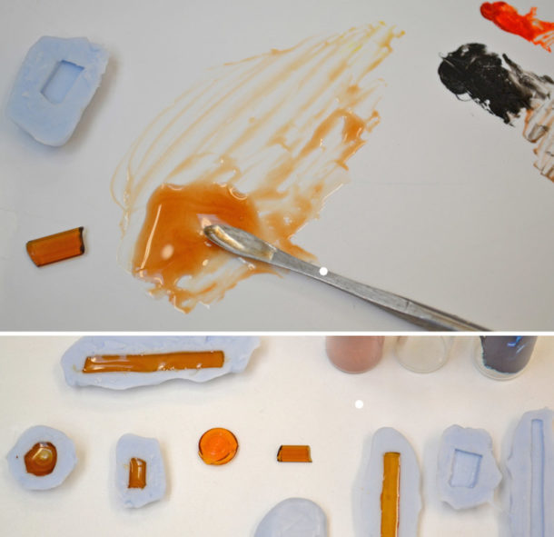 Applying dye to epoxy resin and casting resin pieces