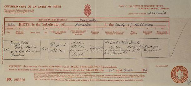Beatrix Potter's birth certificate