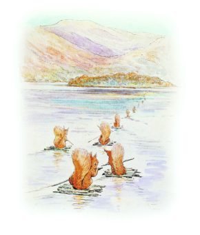 Illustration from The Tale of Squirrel Nutkin: squirrels on Derwentwater