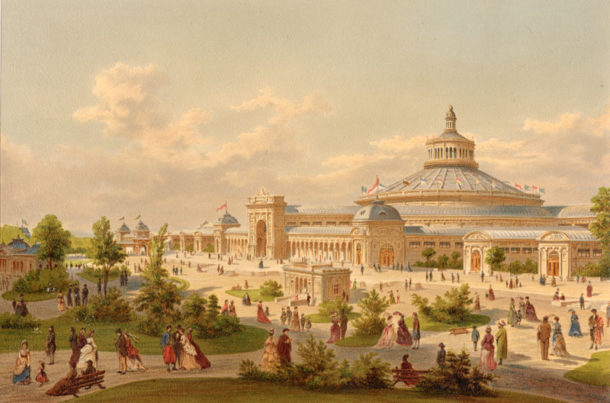 Colour lithograph depicting the Rotunda and Main Exhibition Hall of the Weltausstellung in Vienna 1873.