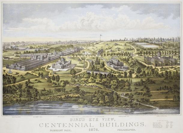 Colour lithograph showing a bird's eye view of the Centennial buildings in Fairmount Park, Philadelphia, 1876.