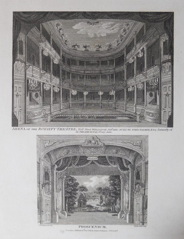 The stage and proscenium arch at the Royalty Theatre, 1815, drawn by C. Westmacott and engraved by B. Howlett