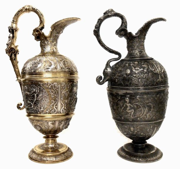 An electrotyped ewer by Elkington & Co. made in 1852 alongside the antique pewter original made c.1590 from which it was copied.