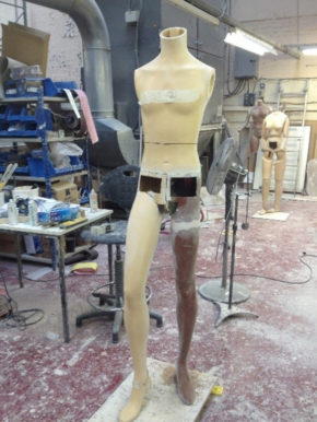 Adapted mannequin in the factory at proportion>london