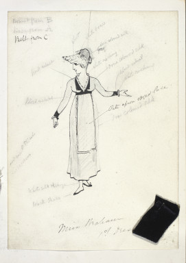 S.3485-2015 Costume sketch Ruddigore; Costume sketch by W.S. Gilbert showing a design for Rose Maybud for a production of Ruddigore, 1886 William Schwenck Gilbert (1836-1911), probably Great Britain 1886 Ink and pencil on paper with fabric swatches attached